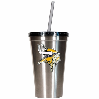 Minnesota Vikings 16oz Stainless Steel Insulated Tumbler with Straw