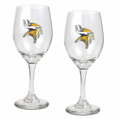 Minnesota Vikings 2 Piece Wine Glass Set