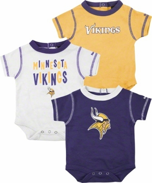 Minnesota Vikings 3 Pack Creeper Set