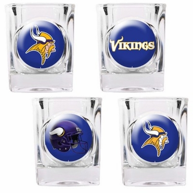Minnesota Vikings 4 Piece Assorted Shot Glass Set