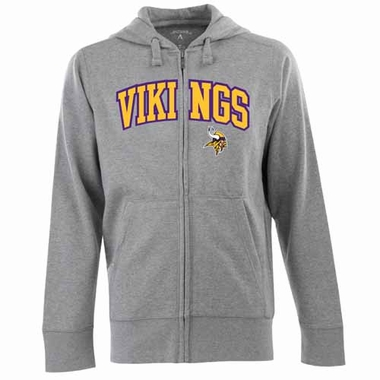 Minnesota Vikings Mens Applique Full Zip Hooded Sweatshirt (Color: Gray)