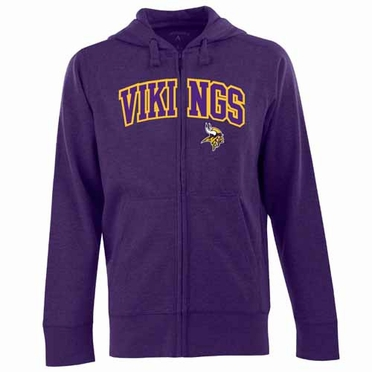 Minnesota Vikings Mens Applique Full Zip Hooded Sweatshirt (Team Color: Purple)