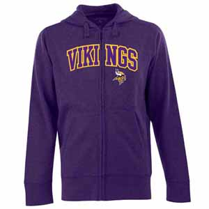 Minnesota Vikings Mens Applique Full Zip Hooded Sweatshirt (Color: Purple) - Large