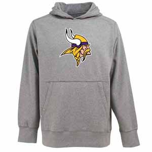 Minnesota Vikings Big Logo Mens Signature Hooded Sweatshirt (Color: Gray) - Medium