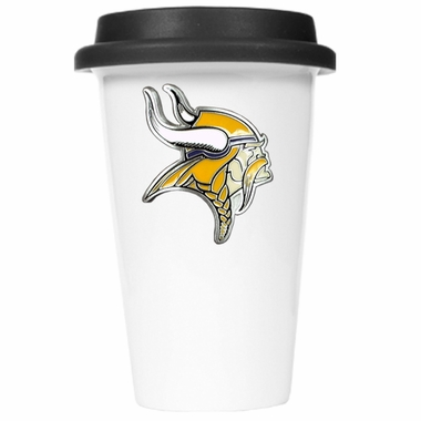 Minnesota Vikings Ceramic Travel Cup (Black Lid)