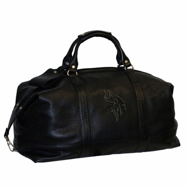 Minnesota Vikings Debossed Black Leather Captain's Carryon Bag