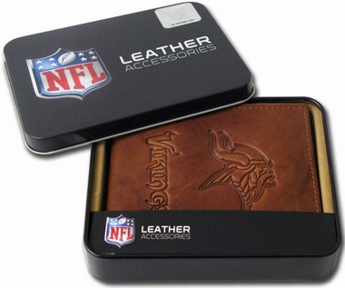 Minnesota Vikings Embossed Leather Bifold Wallet