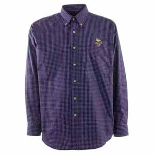 Minnesota Vikings Mens Esteem Check Pattern Button Down Dress Shirt (Team Color: Purple) - Large