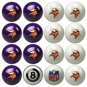 Minnesota Vikings Home and Away Complete Billiard Ball Set