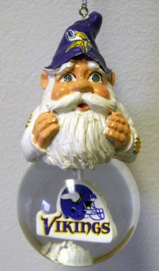 Minnesota Vikings Light Up Gnome Snow Globe Ornament