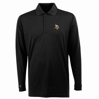 Minnesota Vikings Mens Long Sleeve Polo Shirt (Color: Black) - X-Large