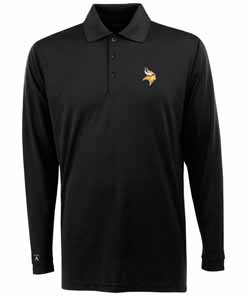 Minnesota Vikings Mens Long Sleeve Polo Shirt (Team Color: Black) - XXX-Large