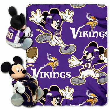 Minnesota Vikings Mickey Mouse Pillow / Throw Combo