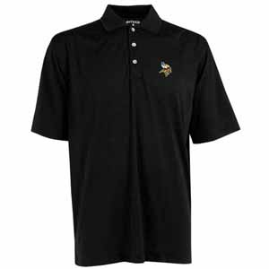 Minnesota Vikings Mens Phoenix Waffle Weave Polo (Color: Black) - Medium