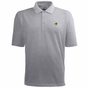 Minnesota Vikings Mens Pique Xtra Lite Polo Shirt (Color: Gray) - Large