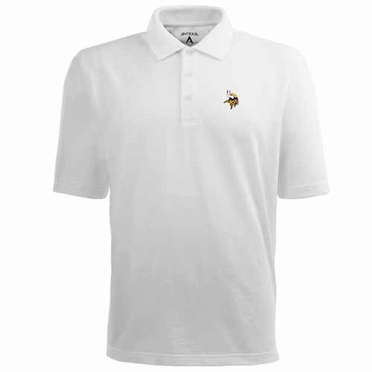 Minnesota Vikings Mens Pique Xtra Lite Polo Shirt (Color: White)