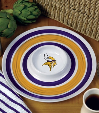 Minnesota Vikings Plastic Chip and Dip Plate