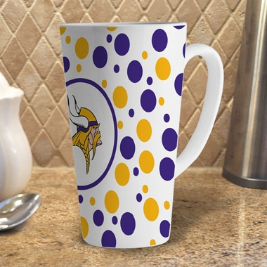 Minnesota Vikings Polkadot 16 oz. Ceramic Latte Mug