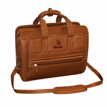 Minnesota Vikings Saddle Brown Leather Briefcase