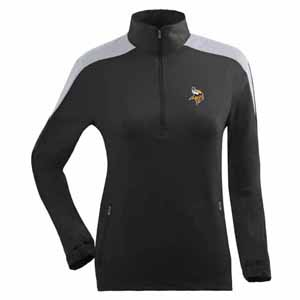 Minnesota Vikings Womens Succeed 1/4 Zip Performance Pullover (Team Color: Black) - Medium