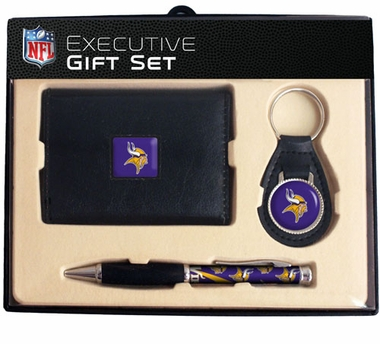 Minnesota Vikings Trifold Wallet Key Fob and Pen Gift Set