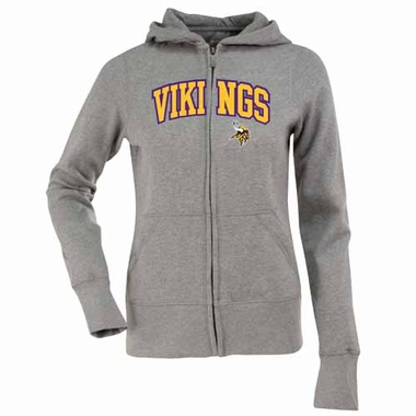 Minnesota Vikings Applique Womens Zip Front Hoody Sweatshirt (Color: Gray)
