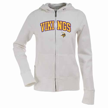 Minnesota Vikings Applique Womens Zip Front Hoody Sweatshirt (Color: White)
