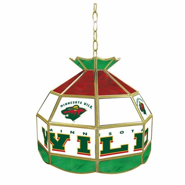 Minnesota Wild 16 Inch Diameter Stained Glass Pub Light