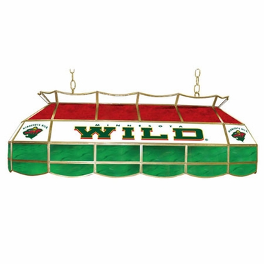 Minnesota Wild 40 Inch Rectangular Stained Glass Billiard Light