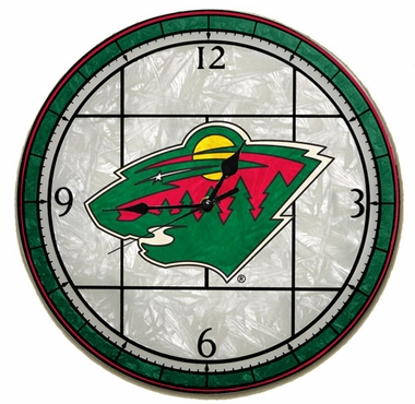Minnesota Wild Art Glass Clock