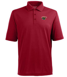 Minnesota Wild Mens Pique Xtra Lite Polo Shirt (Color: Red) - Large