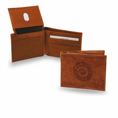 Minnesota Wild Embossed Leather Bifold Wallet