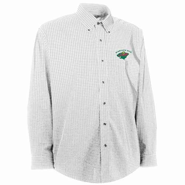 Minnesota Wild Mens Esteem Check Pattern Button Down Dress Shirt (Color: White)
