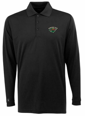 Minnesota Wild Mens Long Sleeve Polo Shirt (Color: Black)