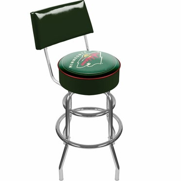 Minnesota Wild Padded Bar Stool with Back