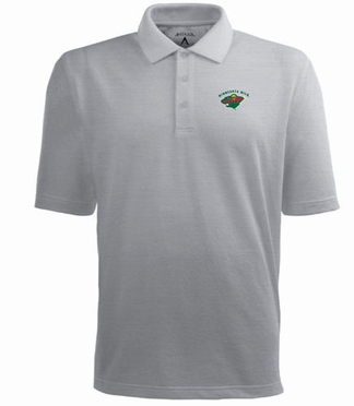 Minnesota Wild Mens Pique Xtra Lite Polo Shirt (Color: Gray)