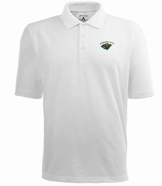 Minnesota Wild Mens Pique Xtra Lite Polo Shirt (Color: White)