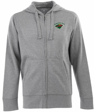 Minnesota Wild Mens Signature Full Zip Hooded Sweatshirt (Color: Gray)