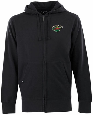 Minnesota Wild Mens Signature Full Zip Hooded Sweatshirt (Team Color: Black)