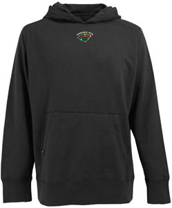 Minnesota Wild Mens Signature Hooded Sweatshirt (Team Color: Black) - Large