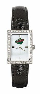 Minnesota Wild Women's Black Leather Strap Allure Watch