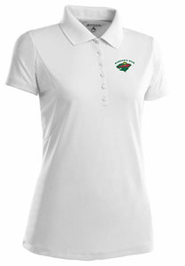 Minnesota Wild Womens Pique Xtra Lite Polo Shirt (Color: White) - X-Large