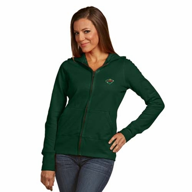 Minnesota Wild Womens Zip Front Hoody Sweatshirt (Alternate Color: Green)