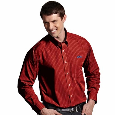 Mississippi Mens Achieve Striped Button Down Dress Shirt (Team Color: Red)