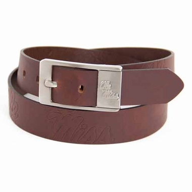 Mississippi Brown Leather Brandished Belt