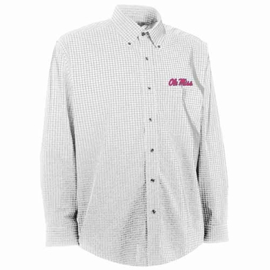 Mississippi Mens Esteem Check Pattern Button Down Dress Shirt (Color: White)