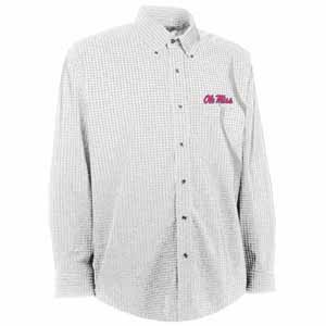 Mississippi Mens Esteem Check Pattern Button Down Dress Shirt (Color: White) - Large
