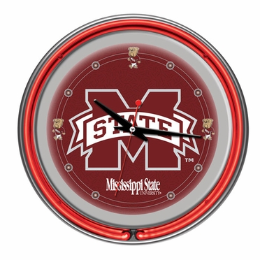 Mississippi State 14 Inch Neon Clock