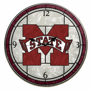 Mississippi State Art Glass Clock