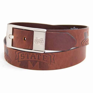 Mississippi State Brown Leather Brandished Belt